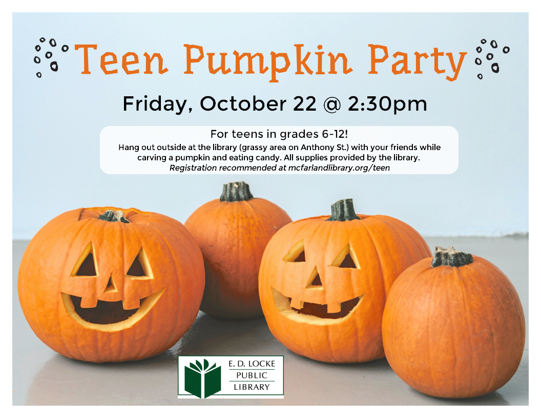 Teen Pumpkin Party. Friday, October 22nd at 2:30 p.m. Image of carved pumpkins.