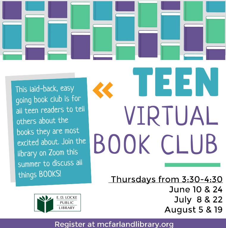 Virtual Book Club. Thursdays at 3:30. Illustrations of books.