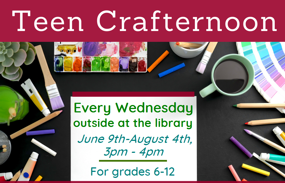 Teen Crafternoon. Wednesdays at 3pm. Images of craft supplies
